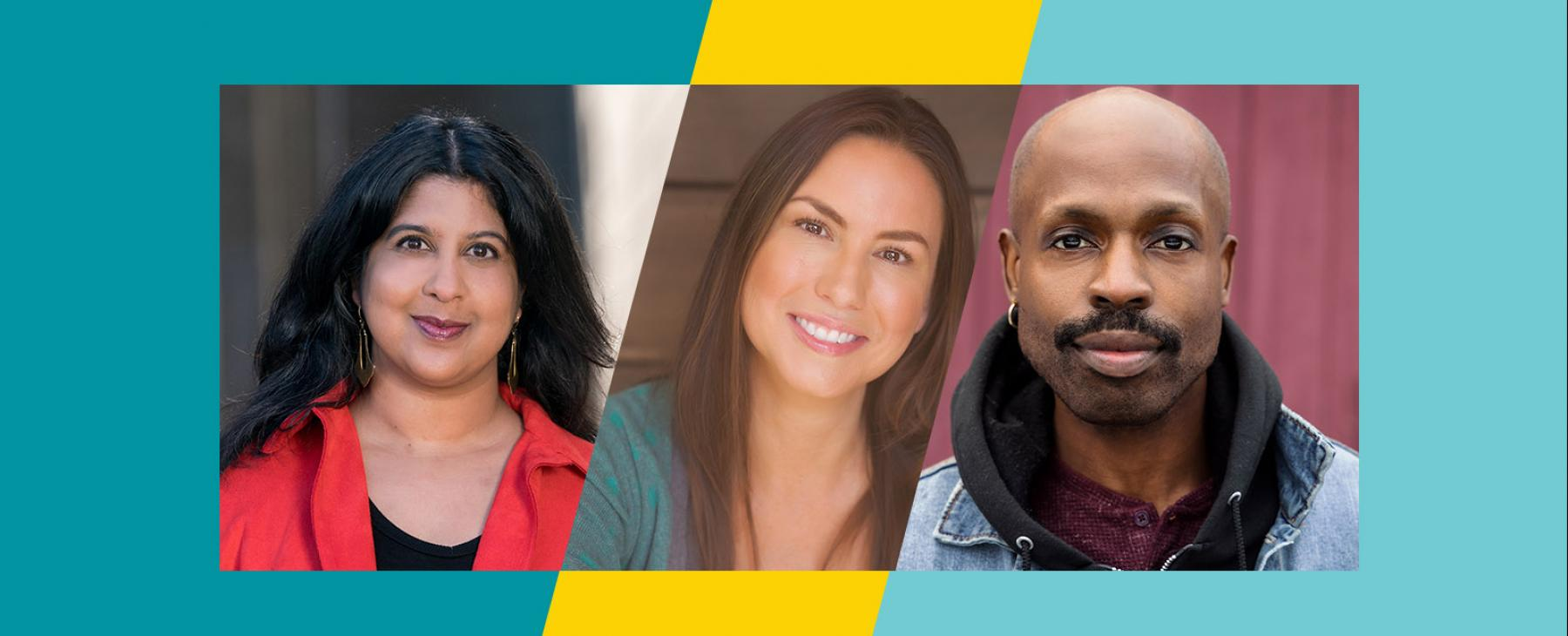 Amrita is an Indian woman with long dark hair, DeLanna is an Indigenous woman with long, lightbrown hair, and Jarvis is a black man with a bald head and a moustache.