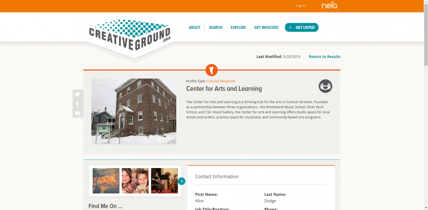 A screenshot of the CreativeGround profile page for Center for Arts and Learning