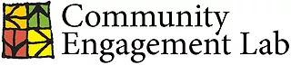 Community Engagement Lab text with an icon made up of Four Squares each with an arrow inside