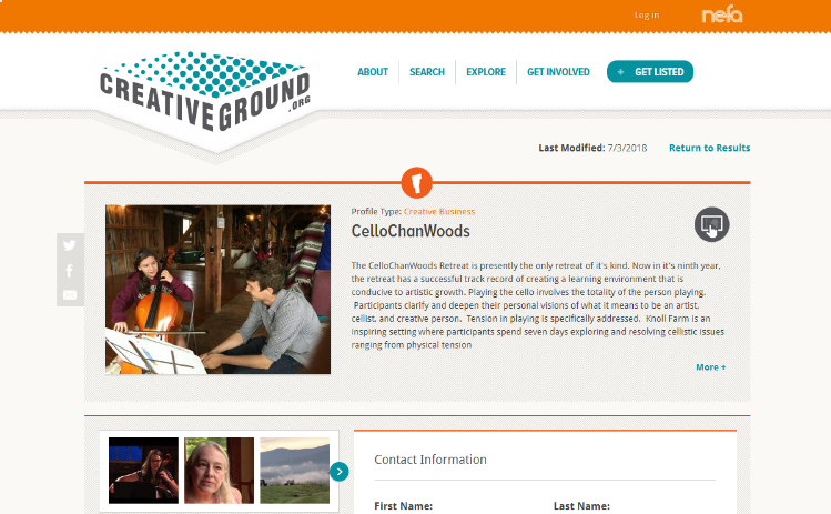 Screenshot of CelloChanWoods CreativeGround profile.
