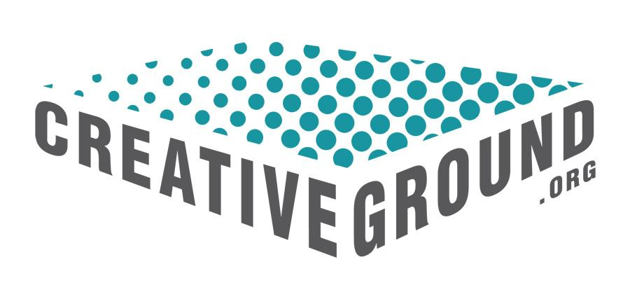 Creative Ground logo has dots on a plane over text.