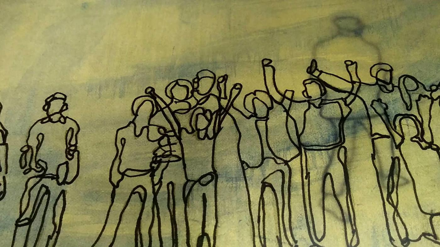 On a leafy green paper or fabric, a line sketch of a crowd of indivduals.