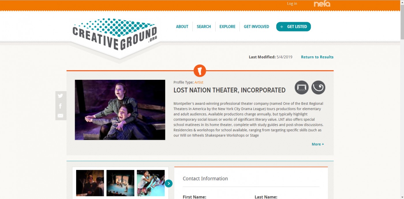 A screenshot view of the CreativeGround profile for Lost Nation Theater featuring a description of the organization and a eerily lighted picture of a man and a woman looking frightened.