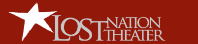 Lost Nation Theater logo- white text on a red background next to a giant white star.