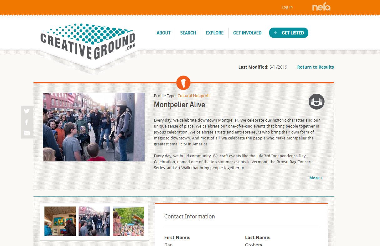 Screenshot of the CreativeGround profile for Montpelier Alive- featuring a profile image of a crowd and descriptive text for the organization's activities.