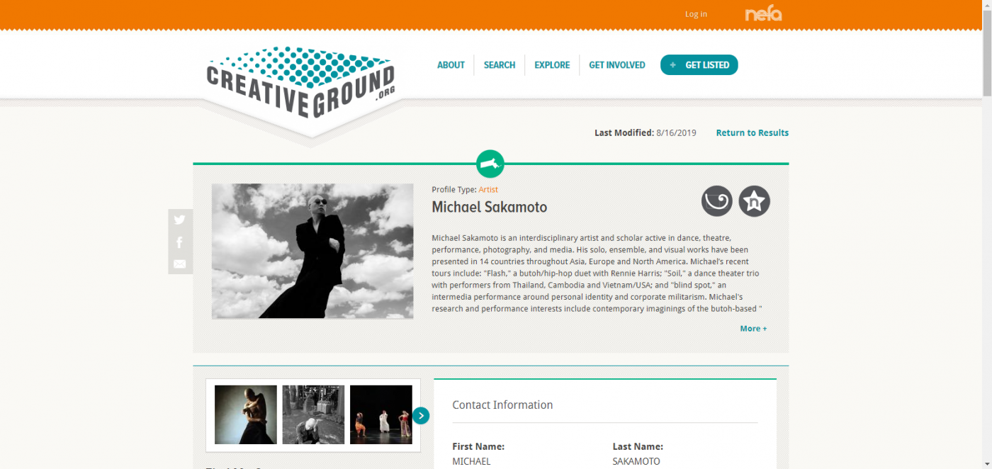 Screenshot of the CreativeGround profile for Michael Sakamoto including descriptive text, images of his dance work, and contact information.