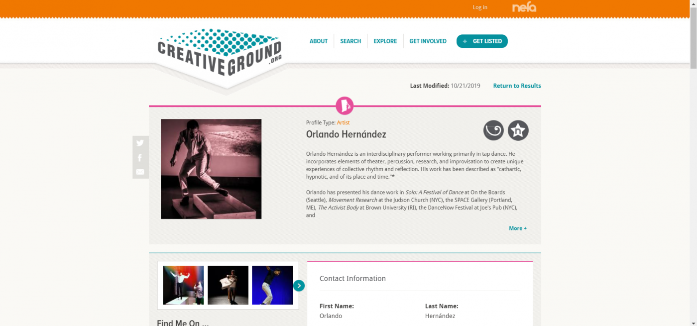 a screen capture of the CreativeGround profile for Orlando Hernandez featuring images of him tap dancing and a description of his work