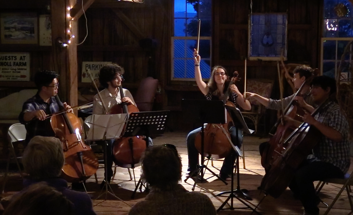 Under a spotlight, five cellists play in a cabin at dusk.