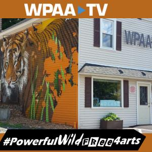 promo shot of a mural of tiger on the side of a building advertising public access television