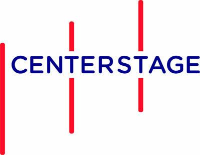 Center Stage logo, with blue text and 3 red vertical lines