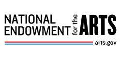 NEA logo has stripes across the bottom leading to arts.gov