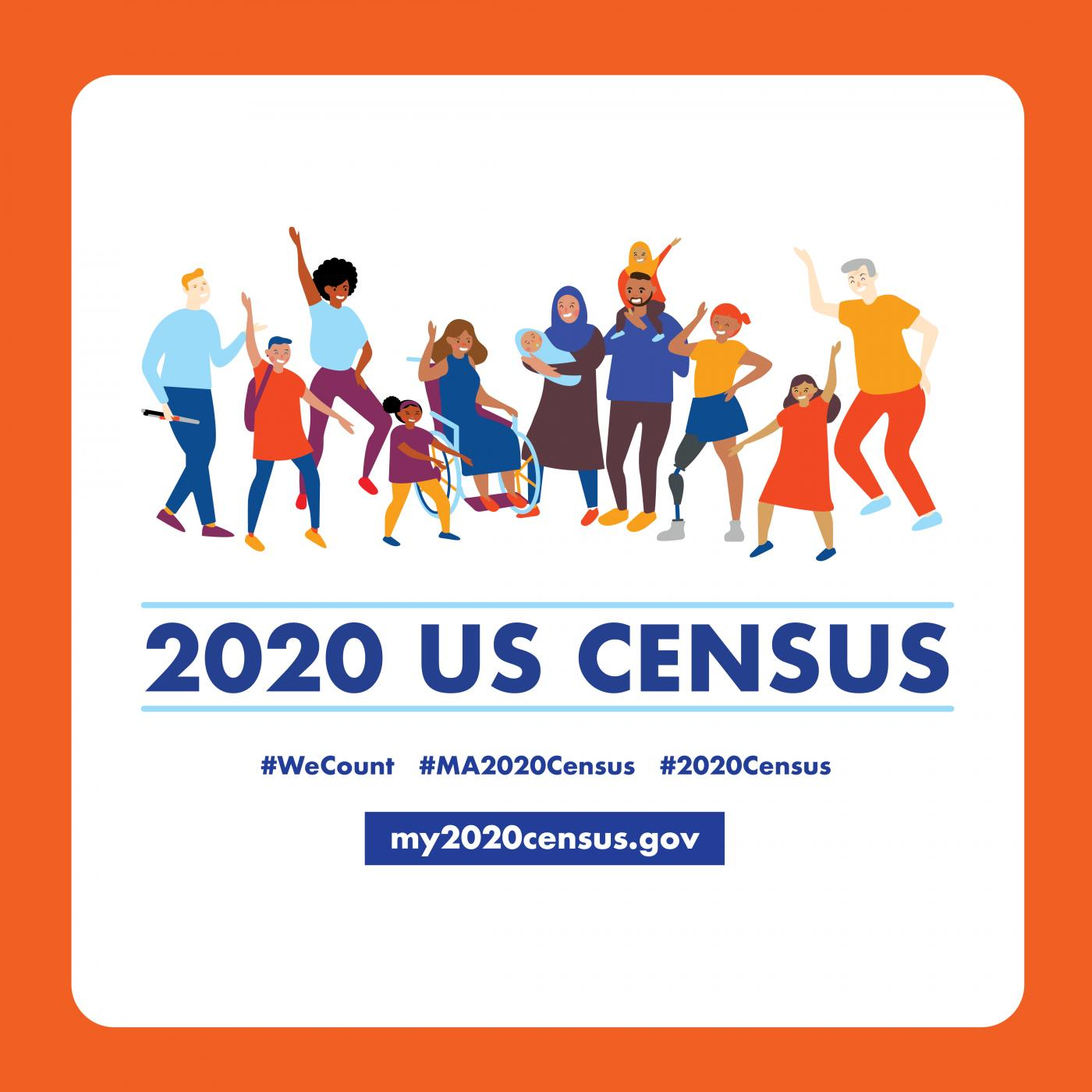 "Cartoon image of 12 people representing a wide range of demographics looking happy . Text below it reads ""2020 US Census, #WeCount, my2020census.gov"""