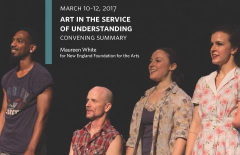 "Two men, one in a wheelchair, and two women, one with an arm amputation, are on a stage. Title of the report between their heads, ""Art in the Service of Understanding."""