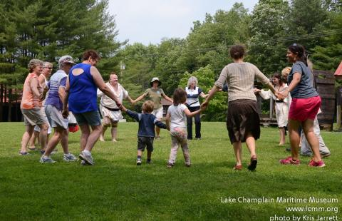 Visitors join the Round Dance at the Abenaki Heritage Weekend. Courtesy of Lake Champlain Maritime Museum