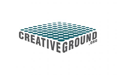 CreativeGround logo has a plane of flat circles over the name.