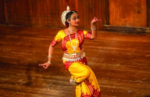 A woman in classical Indian garb performs a traditional dance.