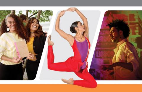 "Cover of 2019 Annual Report with 3 photos; the center photo is a dancer in red doing a dramatic leap ""out"" of the design"