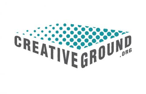 CreativeGround logo has a plane of dots over text
