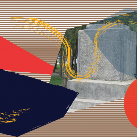 a collage of primary color graphics and a photo of the base of a statue