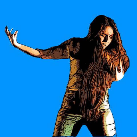 A stylized image of a woman with long dark hair, eyes closed and arm out as if in anguish