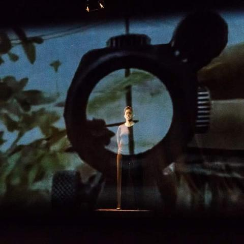 A person on a stage hehind a projection of flowers and some kind of lens with knobs.