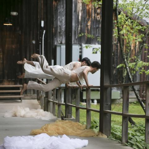 On a porch, two dancers, in matching costumes, leap while holding on to a railing.