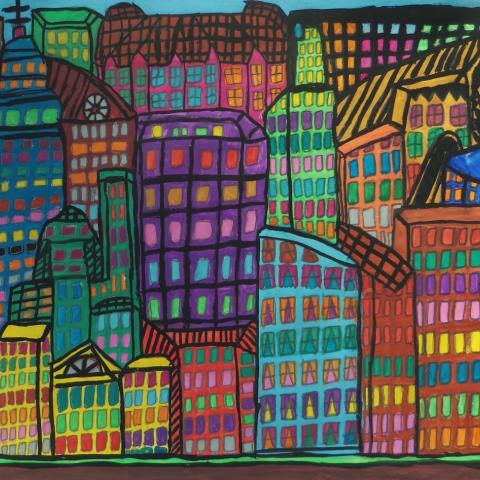 marker painting of overlapping rainbow skyscrapers with colorful windows