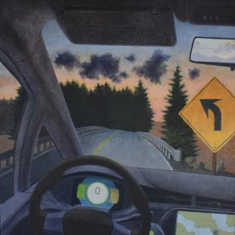 Painting of a driver's perspective behind the wheel, looking out to a road lined with pine trees and a sign indicating that the road curves up ahead.