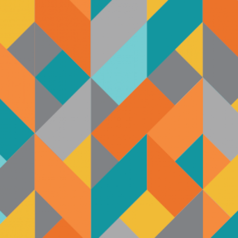 A criss cross pattern of oranges, greys, and teals.