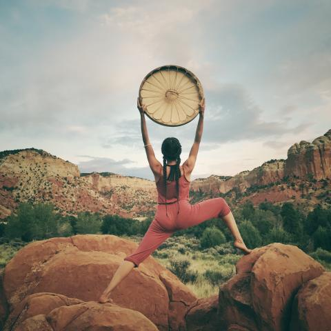 A woman holds up a large disc while standing on red rocks in an open field.