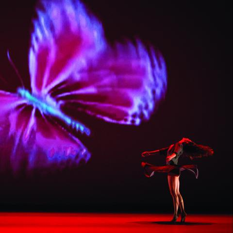 A female dancer spins next to a projection of a very large butterfly.