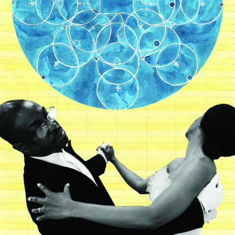 A couple in black and white dances over an orange background with a blue orb containing a multitude of white circles.
