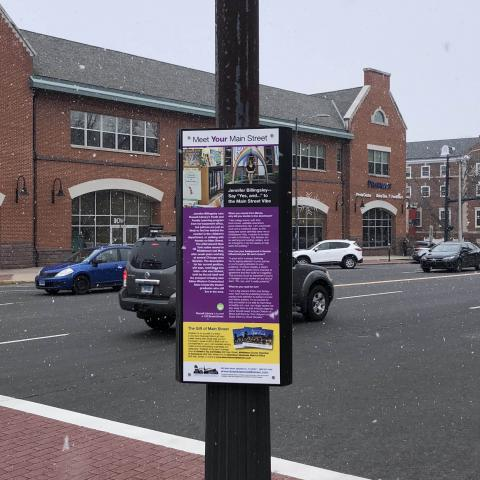 Image of a sign on a lamp post on a sidewalk with the town center in the background.