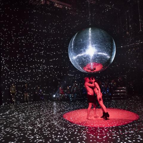 Two figures make out under a large disco ball.