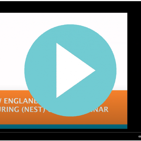 A light blue play button over a still from the NEST grant webinar.