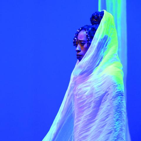 A person is wrapped in a white fabric, in front of a blue backdrop.