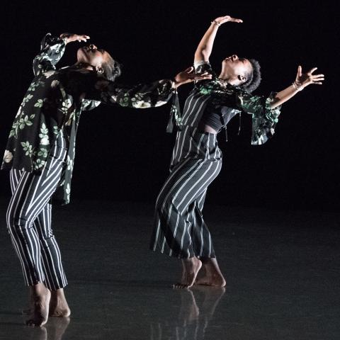 Two dancers on a dark stage arching back with arms in the air. Costumes are bold graphic black and white designs.
