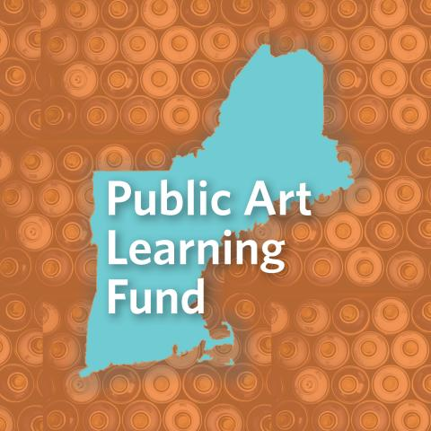 "Text (""Public Art Learning Fund"") over a map of New England and a pattern made out of an overhead view of spray cans."