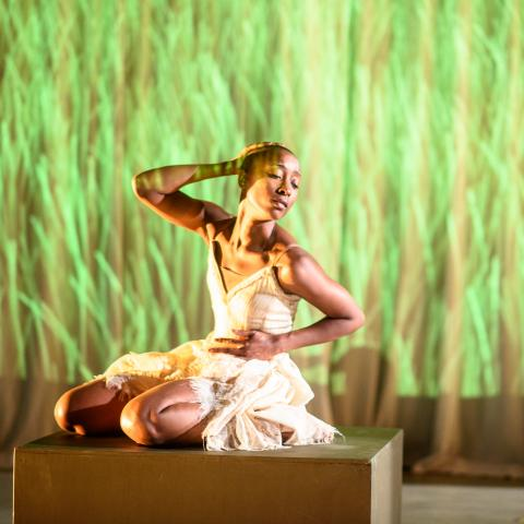 Woman dances on a platform in front of projected video of grass.