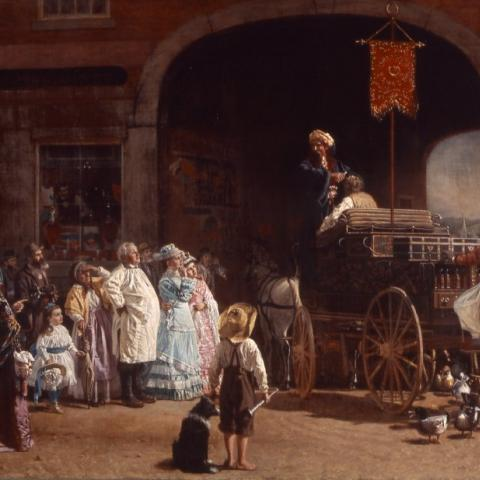 Oil painting of a crowd in a city square watching a man on a cart, under which there are ducks.