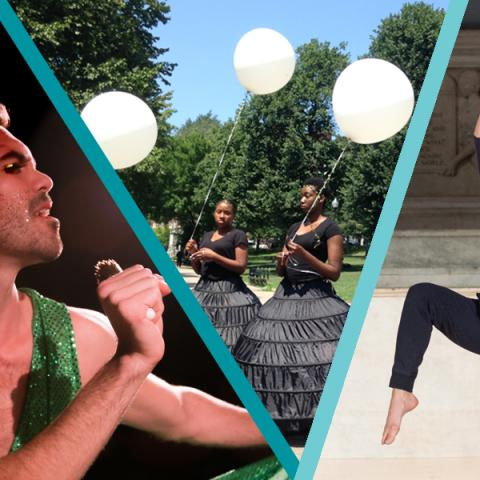 Collage where a man in a green dress sings into a microphone, women of color (in black dresses and holding white balloons) walk through a park, and a woman with dark hair lifts her arms and legs,