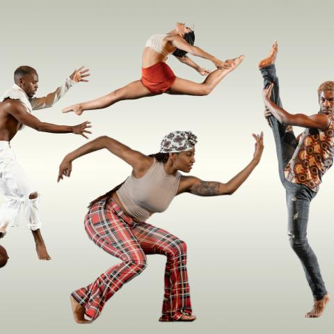 A composite of five black dancers in a white/gray orb.
