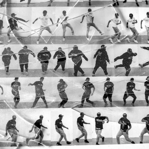 A collage of dancers in black and white.