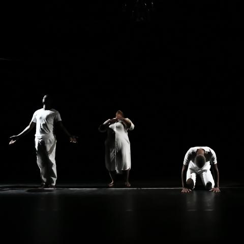 In front of a black backdrop, dancers in white stand in a line in various poses.