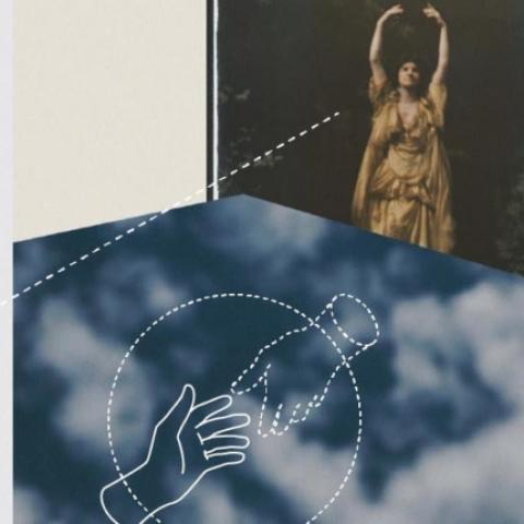 A collage of images that depict hands, constellations, and fabrics.
