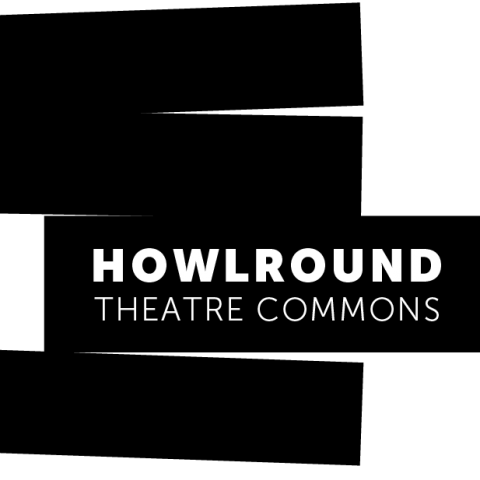 HowlRound's logo is four blocks, one with the org name in it that is inching out from under two of the other blocks.