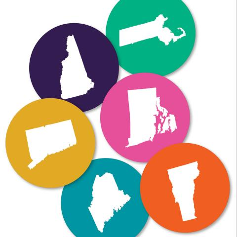 Silhouette of the six New England states each in their own brightly colored circle.