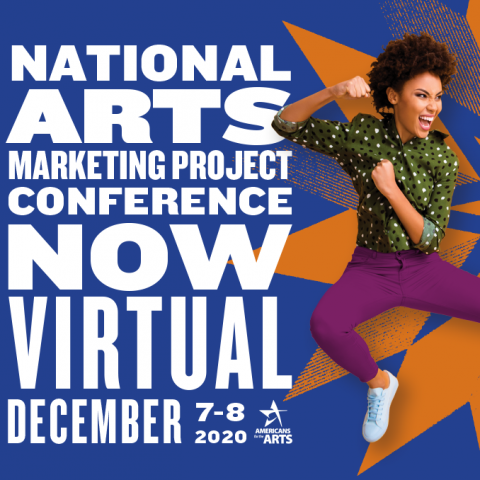 "A woman dances over the event art for the ""National Arts Marketing Project Conference: Now Virtual."""