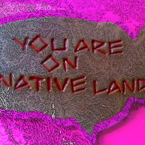 "Painting of the U.S. with the words ""You Are On Native Land"" etched over it."